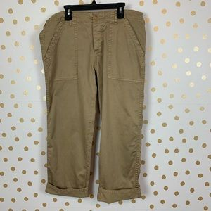 Joie Khaki Cuffed Cropped Pants